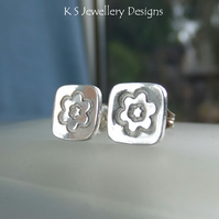Sterling Silver Stud Earrings - Stamped Flower Squares 2 - Handmade Textured