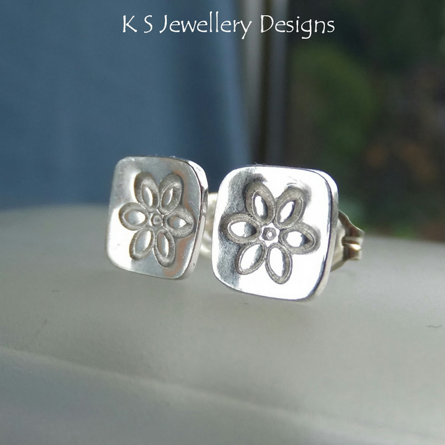 Sterling Silver Stud Earrings - Stamped Flower Squares 1 - Handmade Textured