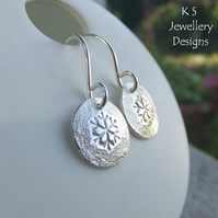 Textured Snowflake Sterling Silver Disc Earrings - Hand Stamped Metalwork