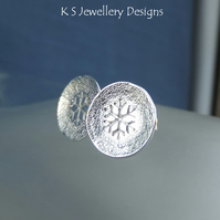 Textured Snowflake Sterling Silver Stud Earrings - Hand Stamped Metalwork