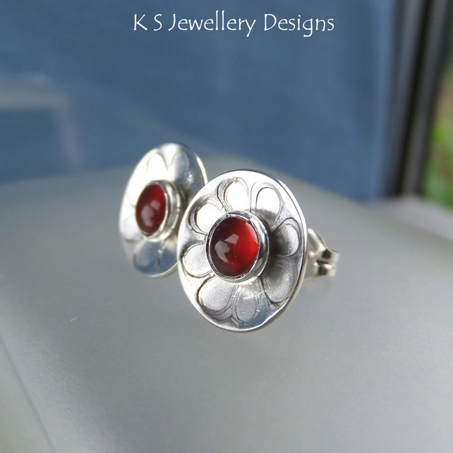 Carnelian Daisies - Sterling Silver Stud Earrings - Gemstone Daisy Flower Discs
