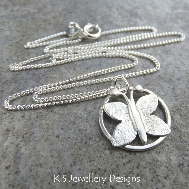 Butterfly Circle Sterling Silver Pendant - Wirework Metalwork Necklace