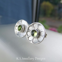 Peridot Daisies - Sterling Silver Stud Earrings - Gemstone Daisy Flower Discs