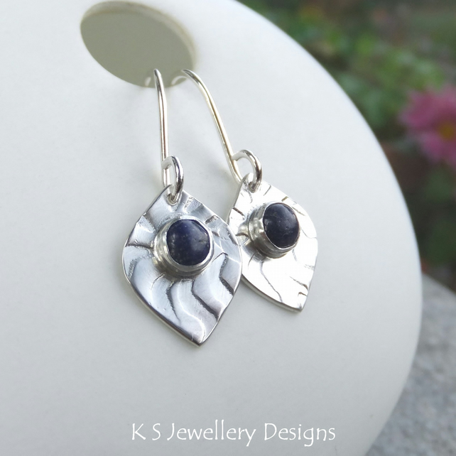 Lapis Lazuli Wavy Textured Sterling Silver Drop Earrings - Handmade Hand Stamped