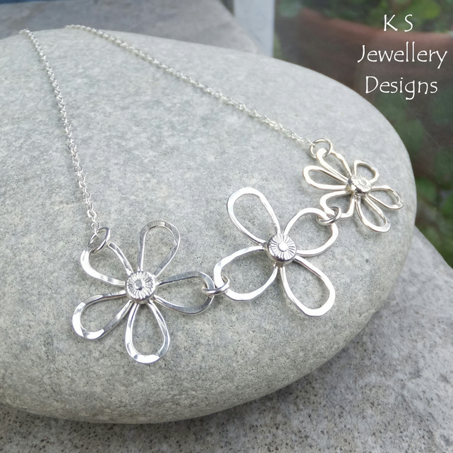 Dappled Flower Trio Sterling Silver Necklace - Wire Flowers - Textured Petals