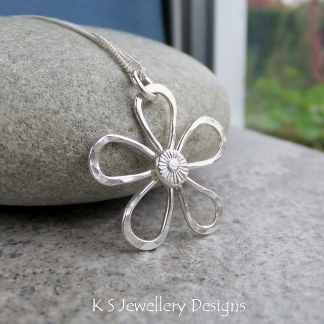 Dappled Flower Sterling Silver Pendant (5 petals) - Wire Flower Textured Petals