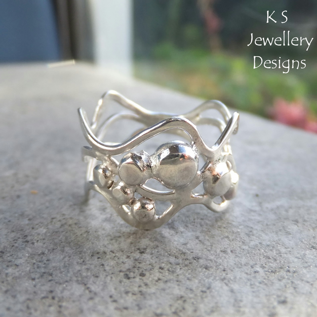 Waves & Pebble Freeform Sterling Silver Ring (3 waves) - Organic Metalwork