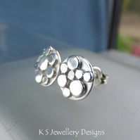 Random Pebbles Sterling Silver Stud Earrings - Organic Pebble Studs - Metalwork