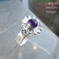 Amethyst Sterling Silver Daisy Ring - Gemstone Flower Ring - size N size 6.75