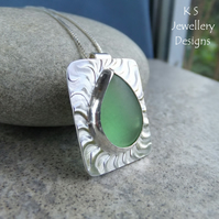Green Glass Teardrop Wavy Textured Sterling Silver Pendant - Vintage Glass