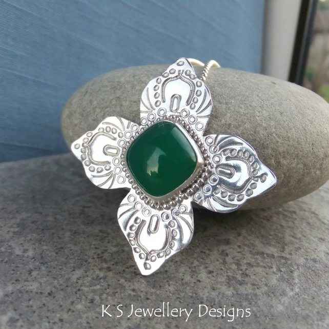 Green Chalcedony Sterling Silver Textured Flower Pendant - Gemstone Hand Stamped