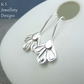 Sterling Silver Petal Trio Earrings (v2) - Metalwork Handstamped Flowers Petals