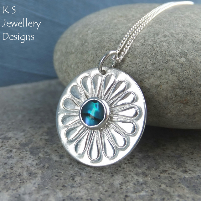Abalone Daisy Sterling Silver Disc Pendant - Hand Stamped Flower - Shell