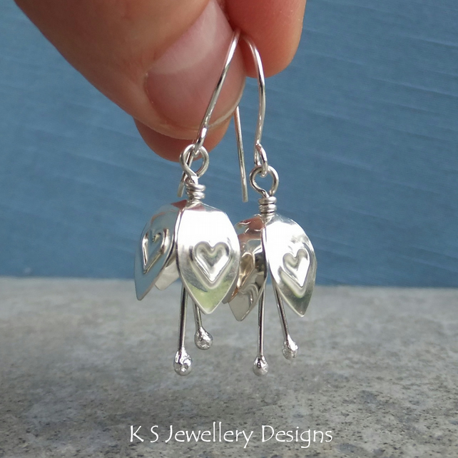 Heart Embossed Sterling Silver Bell Flower Earrings - Handstamped Metalwork