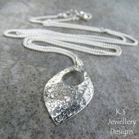 Flower Textured Sterling Silver Drop Pendant - Hand Stamped Flowers Metalwork