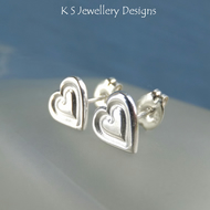 Sterling Silver Stud Earrings - Stamped Hearts - Handstamped Love Heart Studs