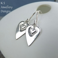 Stamped Heart Sterling Silver Dangly Earrings - Handstamped Shiny Love Hearts