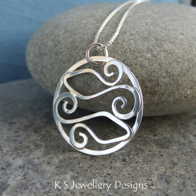 Sterling Silver Swirl Circle Pendant - TWO FISHES - Pisces Zodiac Necklace