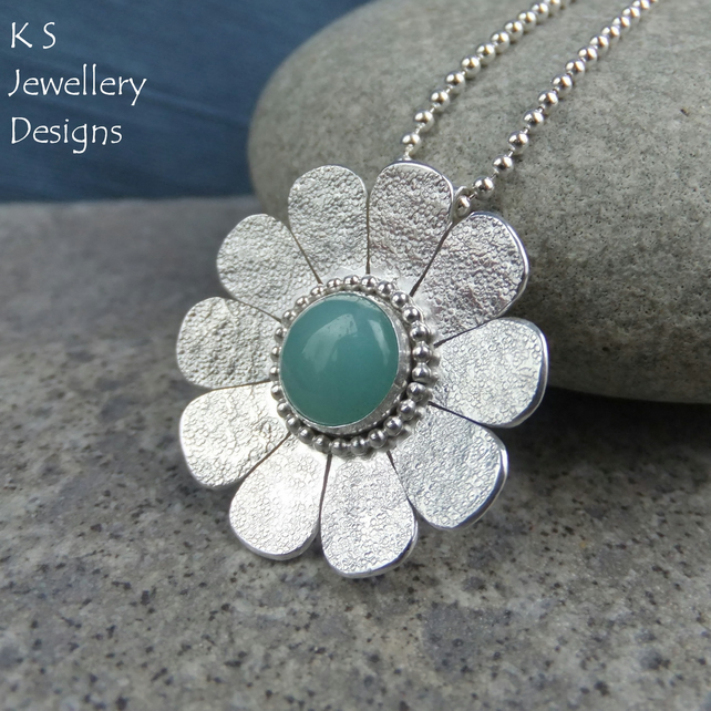 Amazonite Textured Daisy Sterling Silver Pendant - Gemstone Flower