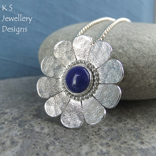 Lapis Lazuli Textured Daisy Sterling Silver Pendant - Gemstone Flower Necklace