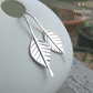 Sterling Silver Leaf Drop Earrings - Handmade Handstamped Metalwork Leaves
