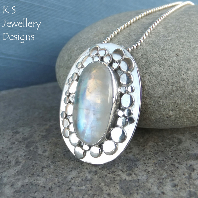 Rainbow Moonstone Random Pebbles Frame Sterling Silver Pendant - Pebble Necklace