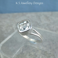 White Topaz Square Sterling Silver Ring - Sparkling Gemstone Metalwork Handmade