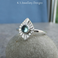 Apatite Sterling Silver Mini Sunburst Ring - Gemstone - UK size M - US size 6.25