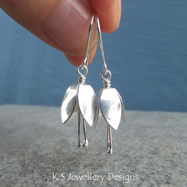 Bell Flower Earrings - Shiny Sterling Silver Bell Flowers - Metalwork Jewellery