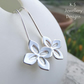 Four Petal Flowers Sterling Silver Earrings - Handmade Handstamped Metalwork
