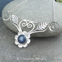 Kyanite Flower and Leaves Sterling Silver Necklace - Handmade Metalwork Gemstone