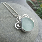 Aqua Blue Sea Glass Sterling Silver Pendant - SEA LIFE - Handmade Metalwork