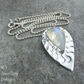 Rainbow Moonstone Wavy Textured Sterling Silver Drop Pendant - Hand Stamped
