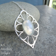 Rainbow Moonstone Petal Leaf Frame Sterling Silver Pendant - Gemstone Flower