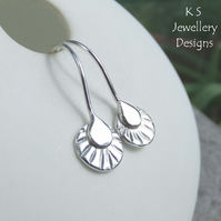 Sterling Silver Textured Disc Drop Earrings 1 - Handmade Handstamped Metalwork