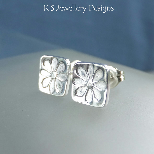 Sterling Silver Stud Earrings - Stamped Flower Squares 4 - Handmade Daisies