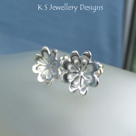 Sterling Silver Stud Earrings - Daisy Blossoms - Handmade  Flower Textured
