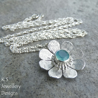 Aqua Chalcedony Textured Daisy Sterling Silver Pendant - Gemstone Flower