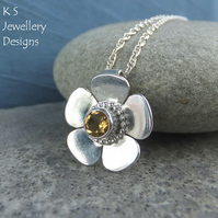 Citrine Shiny Buttercup Sterling Silver Pendant - Gemstone Flower