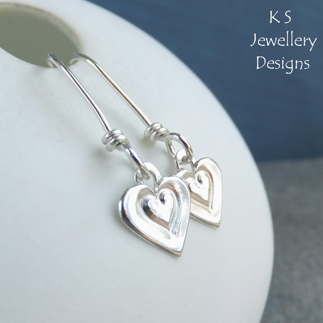 Stamped Little Heart Sterling Silver Dangly Earrings - Handstamped Love Hearts