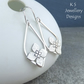 Framed Flower Drops Sterling Silver Earrings - Handmade Handstamped Metalwork