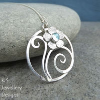 Blue Topaz Flower & Swirls Circle Sterling Silver Pendant - Handmade Metalwork