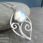 Rainbow Moonstone Sterling Silver Flower Bud Pendant - Gemstone Swirl Leaf