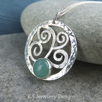 Amazonite Sterling Silver Textured Waves & Dappled Circle Pendant - Sea Themed