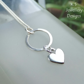 Little Heart Charm Circle Sterling Silver Pendant - Love Heart Necklace