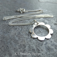 Sterling Silver Pendant Necklace - Retro Daisy - Handmade Metalwork Flower