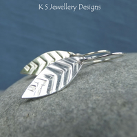 Textured Long Leaf Sterling Silver Earrings - Hand Stamped Metalwork Leaves