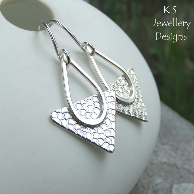 Textured Triangle Sterling Silver Drop Earrings - Handmade Handstamped Metalwork