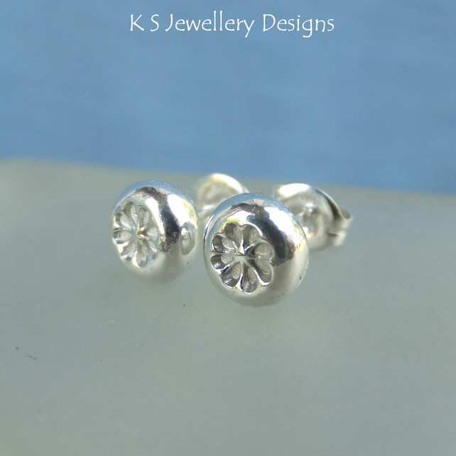 Flower Textured Pebbles - Sterling Silver Stud Earrings - Organic Pebble Studs