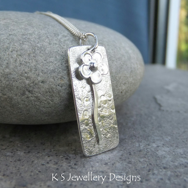 Solo Flower Rectangular Sterling Silver Pendant - Metalwork Blossom Necklace